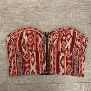Forever 21 Red Aztec Design Crop Tube Top